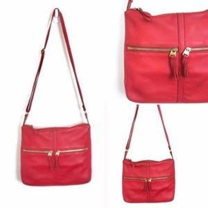 COPY - Fossil Red Leather Small ERIN Crossbody